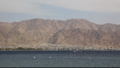 Skyline of Aqaba, Jordan: coastline, beach, mountains and bay Stock Footage