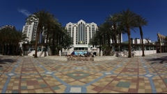 Herods Palace Resort and Spa  Hotel Eilat: beach, promenade, mountains and bay Stock Footage