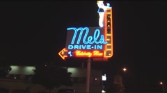 Mels Diner sign Stock Footage