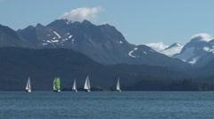 Sailboat flotilla under way toward beautiful mountains Stock Footage