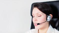 call center girl telephone job - stock footage