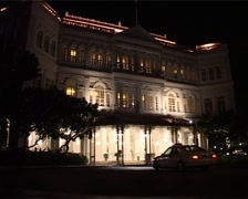 Raffles Hotel at Night, Singapore Stock Footage