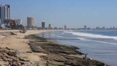 Beautiful view of the ocean, beach and city in Mazatlan, Mexico - stock footage