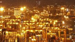 Hong Kong Container Terminal at Night - stock footage