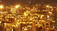 Hong Kong Container Terminal at Night Stock Footage