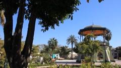 Beautiful park and gazebo in Mazatlan, Mexico - stock footage