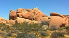 Stock Video Footage of Huge Granite Boulders In Joshua Tree National Park 1