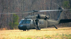 2 helos 1 takes off Stock Footage