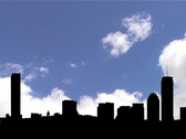 Stock Video Footage of boston skyline silhouette with timelapse clouds animation