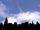 Stock Video Footage of Midtown Manhattan skyline with timelapse clouds animation