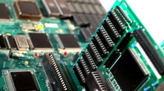 Computer plate with expansion cards in motion Stock Footage
