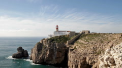 Lighthouse at Cabo Sao Vincente at Sagres Portugal Stock Footage