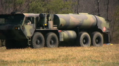 Fuel truck approaches Lakota Stock Footage