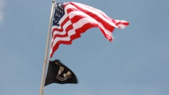 American and POW MIA Flag Blowing in the Breeze (HD) co Stock Footage