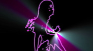 Ser-16 - neon outlined gogo dancer silhouette in pink with lightrays Stock Footage