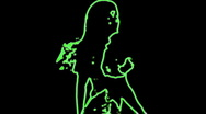 Ser-16 - neon outlined gogo dancer silhouette in green Stock Footage
