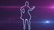 Ser-15 - neon outlined gogo dancer silhouette in blue with lens flares Stock Footage