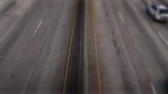 LA freeway motion time lapse tilt up and zoom in tilt shift effect - stock footage