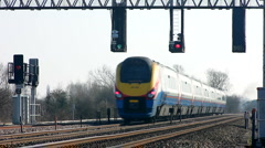 East Midlands Meridian train travels south in Northamptonshire England - stock footage