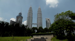 Kuala Lumpur 001City Center, view from Convention Center to Petronas Twin Tower Stock Footage