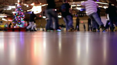 Roller skating rink and skaters Stock Footage