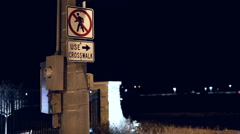 Use crosswalk sign as cars enter highway Stock Footage