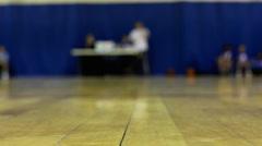 Hardwood floor of Basketball court Stock Footage