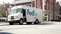 Fedex truck sitting on street in Macon Georgia Stock Footage