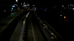 Camera looking at Track of train at Night Stock Footage