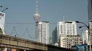 Kuala Lumpur 006 Kuala Lumpur Monorail, view to Kuala Lumpur Tower, Menara Tower Stock Footage