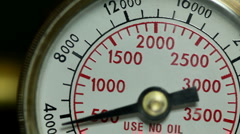 Gas cylinder pressure gauge going up and down Stock Footage