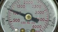 Pressure gauge needle raising and falling Stock Footage