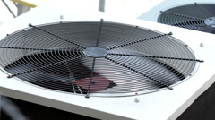 Outside Air Conditioner fan blade spinning Stock Footage