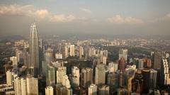 Kuala Lumpur 003 Skyline, view to Petronas Twin Towers, Business Center  Stock Footage