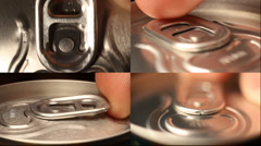 cola or beer can opening sound Close up background - stock footage