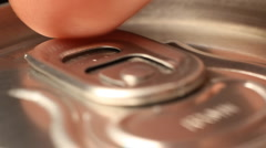 cola or beer can opening sound Close up - stock footage