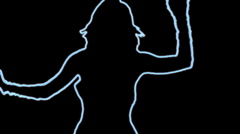 Ser-20 - neon outlined gogo dancer silhouette in blue wiht light rays Stock Footage