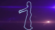 Ser-19 - neon outlined gogo dancer silhouette in blue with lens flares Stock Footage