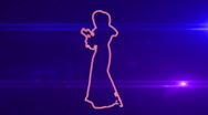Ser-17 - neon outlined gogo dancer silhouette in red with lens flares Stock Footage