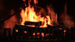 Darkened Fire in Fireplace (HD) co Stock Footage