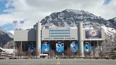 BYU university football stadium P HD 8856 Stock Footage