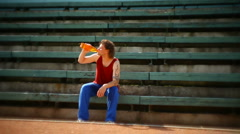 Man thirst-quenching after exercise Stock Footage