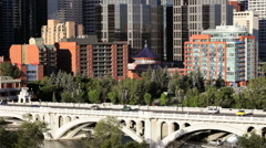 Downtown Calgary, Canada - Traffic Crossing The Centre Street Bridge Stock Footage