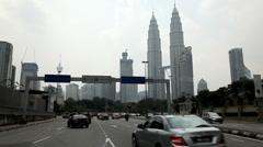 Kuala Lumpur 005b City Center, view  to Petronas Twin Towers, Business Center - stock footage