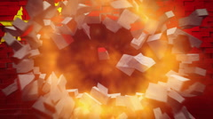 CHINA flag on wall explosion with fireball + alpha Stock Footage