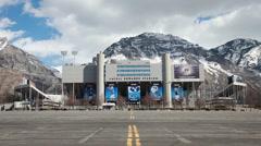 BYU University stadium  mountain snow P HD 8855 Stock Footage