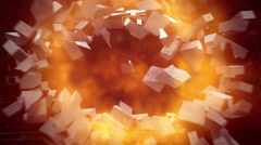 PEACE sign on wall explosion with fireball + alpha Stock Footage