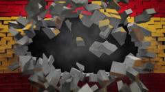 ESPANJA lippu seinällä räjähdys + alpha Arkistovideo