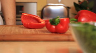 Cooking 0001 - cutting peppers Stock Footage
