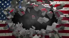 USA lippu seinällä räjähdys + alpha Arkistovideo